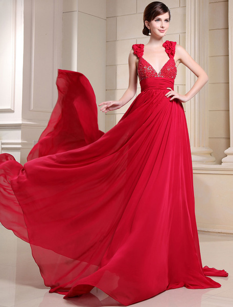 Red Prom Dress Chaple Train Flower Straps Beading Sequin A-Line Chiffon Evening Dress
