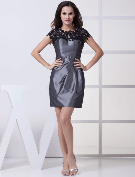 Grey Cocktail Dress Lace Applique Beading Pleated Taffeta A-Line Short Wedding Party Dress