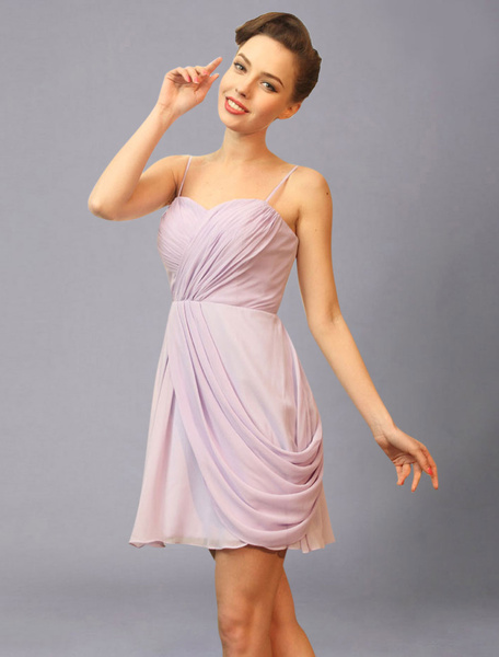 Lavender bridesmaid Dress Sweetheart Spaghetti Pleated Chiffon Short Wedding Party Dress