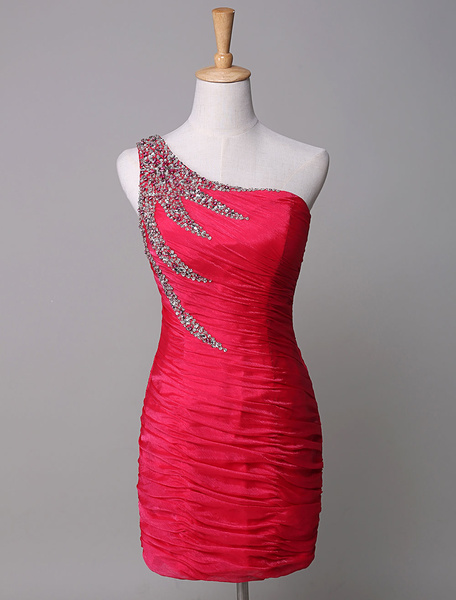 One-Shoulder Cocktail Dress Red Chiffon Pleated Sequin Mermaid Mini Party Dress
