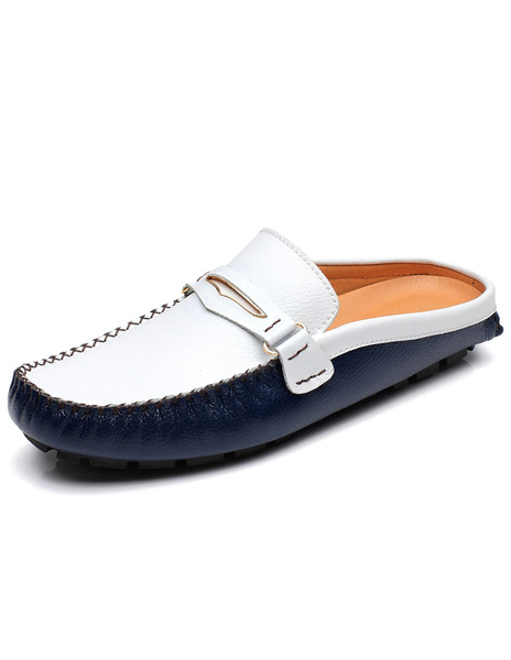 Color Block Loafers Cowhide Buckle Slip-On Slippers for Men