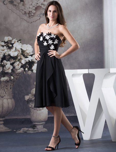 Knee-Length Cocktail Dress Strapless Flower Decor  A-Line Ciffion Pleated Ruffles Prom Dress