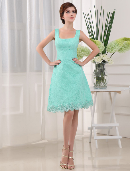 Lace Cocktail Dress Square Neckline A-Line Concise Knee-Length Homecoming Dress