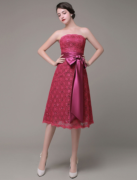 Strapless Bridesmaid Dress A-Line Lace Sequined Satin Sash Bow Knee-Length Homecoming Dress Milanoo