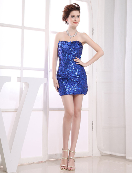 Short Cocktail Dress Sweatheart Sheath Sequined Prom Dress