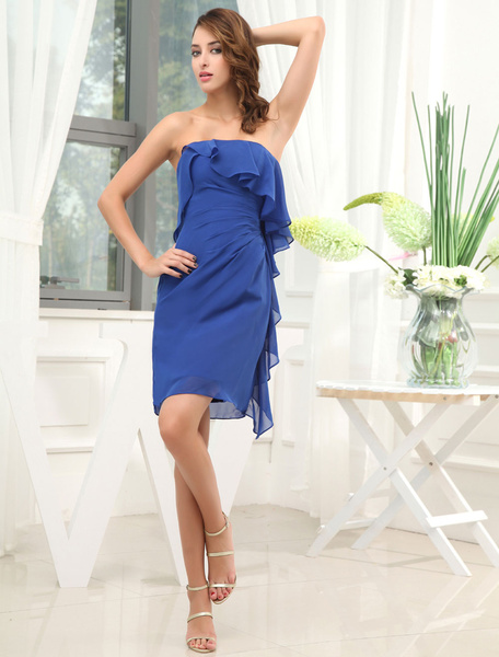 Sheath Bridesmaid Dress Strapless Ruffles Chiffon Pleated Short Wedding Party Dress