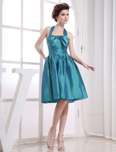 Halter Cocktail Dress A-Line Taffeta Pleated Sash Bow Knee-Length Prom Dress