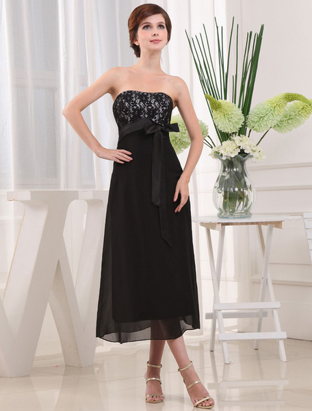 A-Line Bridesmaid Dress Strapless Lace Tea-Length Cocktail Dress With Sash Bow