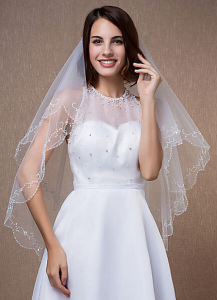Oval Wedding Veils Two-Tiered Beading Edge White Fingertip Veils With Comb(90*75cm)