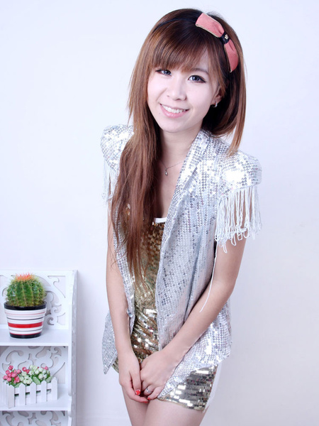 Tassel Jazz Dance Costume Suit Waistcoat Sequin Dress