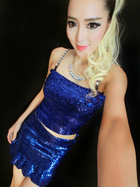 Wrapped Chest Halt Top Costume Shiny Sequin Dress