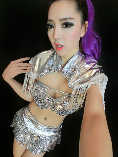 Club Sequin Dress Sexy Wrapped Chest Midriff baring Costume