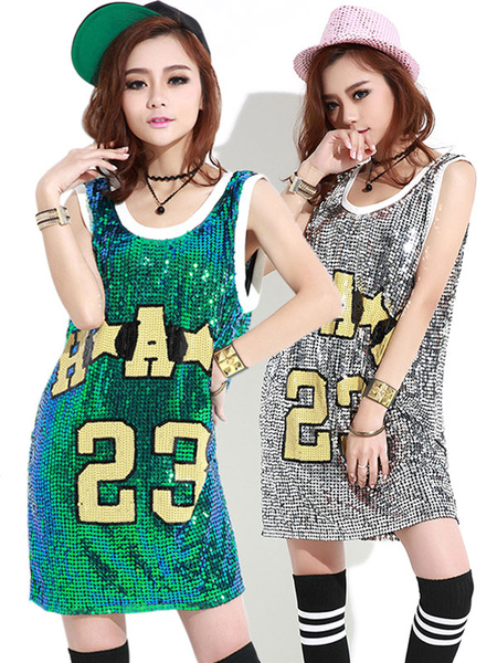 Sequin Dress Costume Round Neck Letters Print Long Pattern T shirt