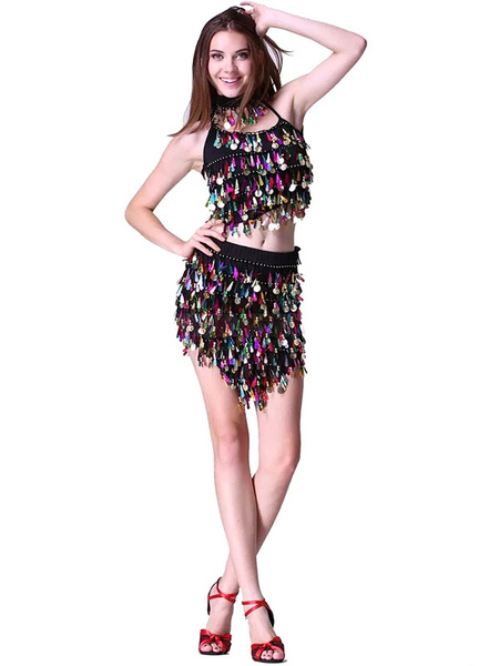 Sequin Dance Dress Halter Backless Women's Crop Top Two Pieces Dance Costume Dress