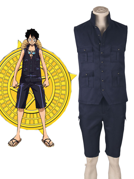 One Piece 2017 Film Gold Monkey D Luffy Summer Anime Cosplay Costume, Black