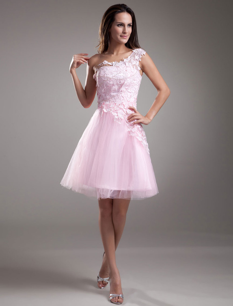 Lace Cocktail Dress One-shoulder Short Prom Dress Pink Tulle Party Dress