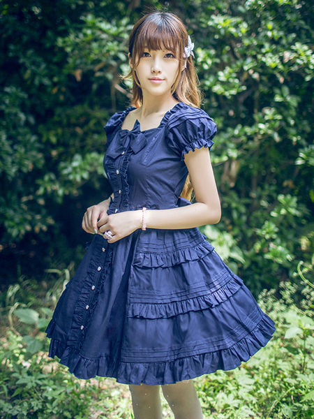 Classical Lolita Dress Layered Ruffles Lolita Dress Short Sleeves Lolita Op Dress With Bows