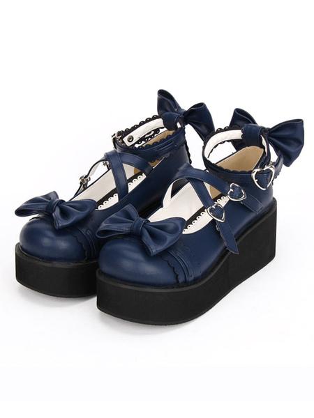Milanoo Gothic Lolita Shoes Cross Bows Platform Lolita Shoes Ankle Strap Lolita Platform Heels Shoes