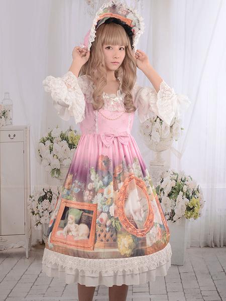 Sweet Lolita Hat Vintage White Lace Ruffled Cats Floral Print Sweet Milanoo Lolita Bonnet