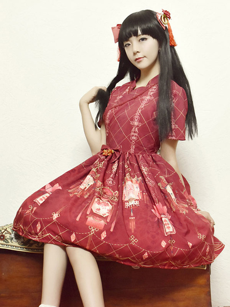 Han Lolita Dress OP Chinese Palace Lantern Red Printed Bow Short Sleeve Silk Lolita One Piece Dress