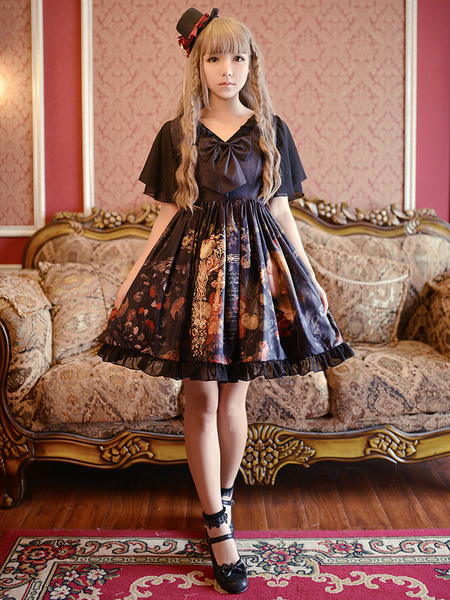 Gothic Lolita Dress OP The Girl Picking Up Flowers Printed Bow Silk V-neck Butterfly Sleeve Lolita O
