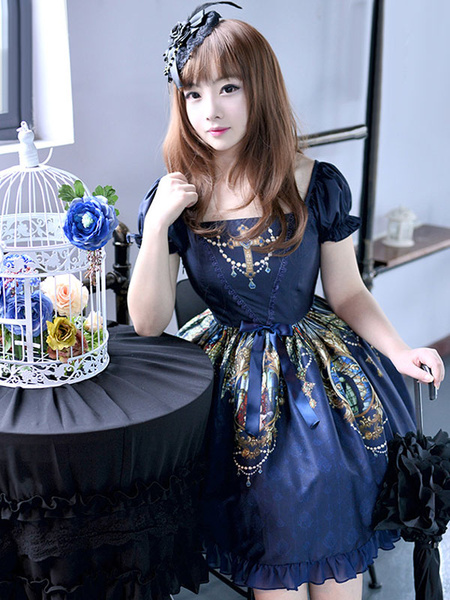 Gothic Lolita Dress OP Goddess Cross Printed Square Neckline Bow Ruffled Short Sleeve Lace Up Lolita