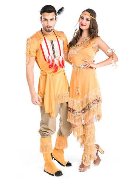 Couples Costumes 2017 Native American Yellow Indian Costume Outfits