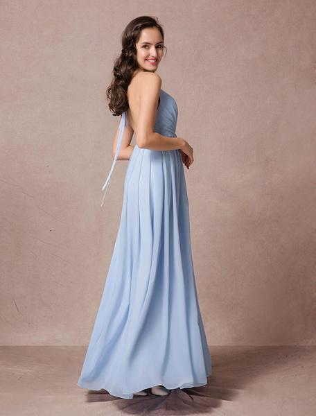 Blue Bridesmaid Dress Chiffon Pluging Maxi Dress A-line Backless Halter Floor-length Prom Dress