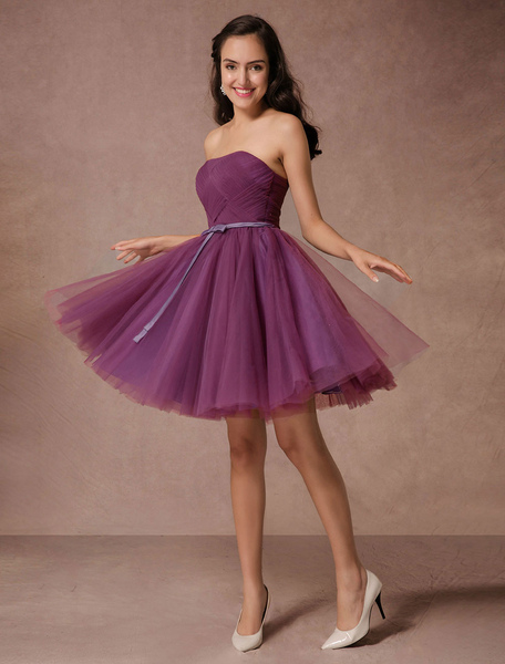 Short Bridesmaid Dress Plum Tulle Strapless Homecoming Dress Short Prom Dress Backless Woven Cocktai