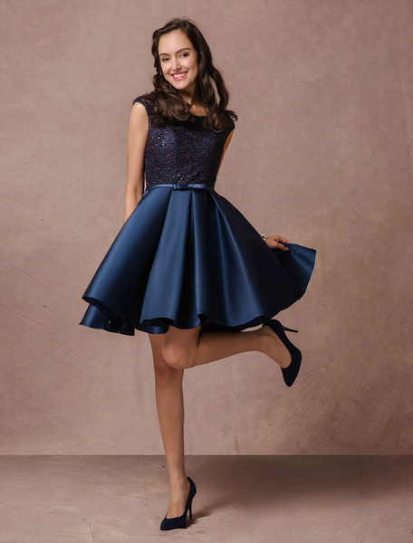 Blue Prom Dress 2017 Short Lace Beading Homecoming Dress Satin Bow Sash Pleated Cocktail Dress