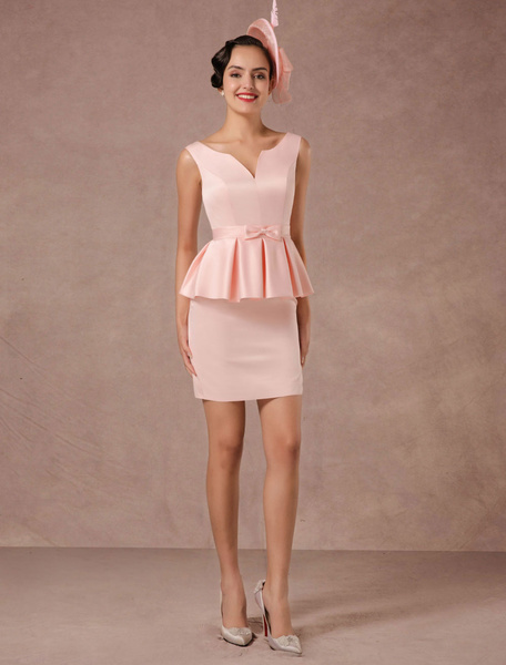 Pink Cocktail Dress Satin Vintage Short Party Dress Sheath Mini Dinner Dress