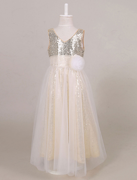 Sequin Flower Girl Dress Tulle Ankle Length Maxi Toddler's Pageant Dress
