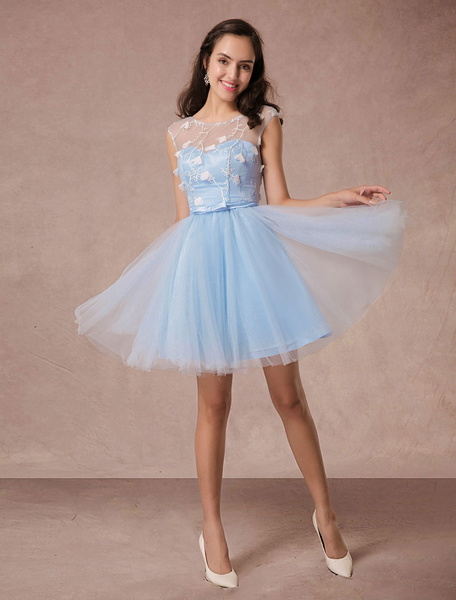 Short Prom Dress Blue Lace Homecoming Dress Backless Flower Applique A-Line Cocktail Dress