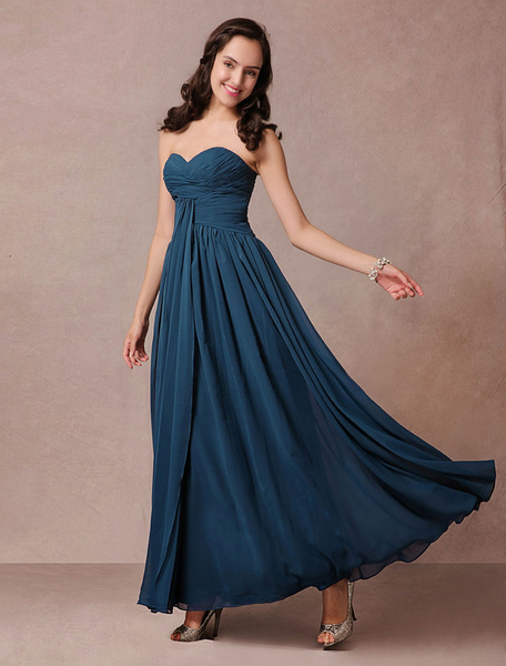 Blue Bridesmaid Dress Maxi Chiffon Strapless Prom Dress Pleated Ankle Length Homecoming Dress