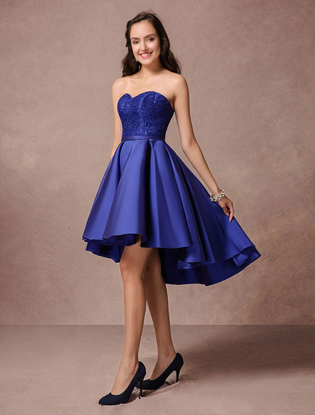 Blue Prom Dress 2017 Short Satin Homecoming Dress Strapless Backless High Low Cocktail Dress