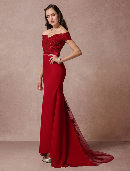 Red Prom Dresses 2017 Long Off The Shoulder Prom Dress Mermaid Backless Evening Dress Lace Beading C