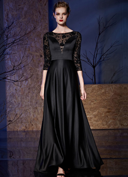 Black Eveing Dress Lace Sequin Half-sleeves Illusion Floor-length Mother Of The Bride Dress