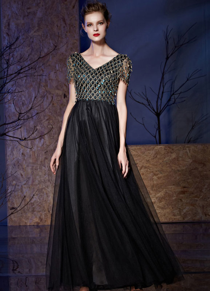 Black Evening Dress Sequin Short Sleeves Tulle A-line Floor Length Party Dress