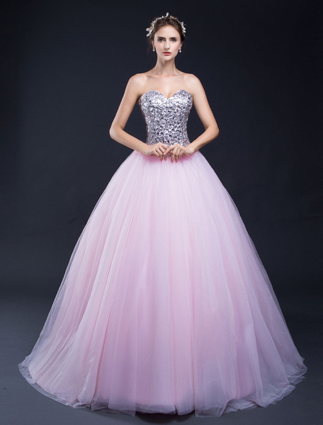 Sequin Pageant Dress Tulle Backless Strapless Sweetheart Floor-length Quinceanera Dress