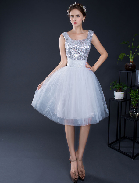 Short Prom Dress Sequin Tulle Homecoming Dress Lace-up Knee-length Graduation Dress