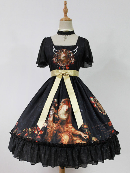 Sweet Lolita Dress OP Black Chiffon Square Neckline Printed Ruffle One Piece Dress