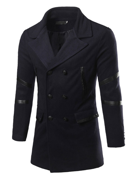 Men's Padded Peacoat Double Breasted Button Winter Coat Turndown Collar Long Sleeve Winter Coat In B