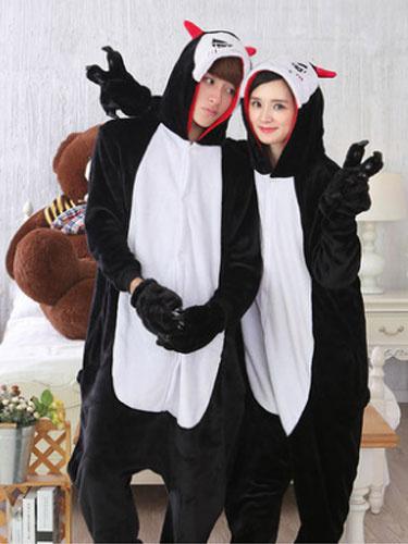 Kigurumi Pajama Demon Onsie Flannel Black Animal Couple Costume Outfits