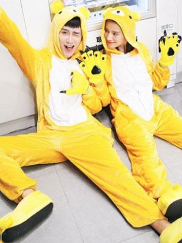 Kigurumi Pajama Bear Onsie Flannel Yellow Animal Couple Costume Outfits