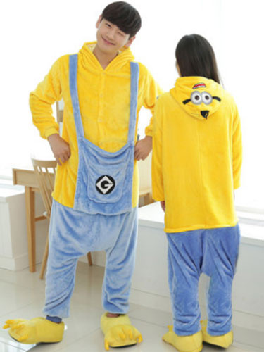Kigurumi Pajamas Minions Onsie Flannel Animal Couple Costume Outfits In 3 Piece