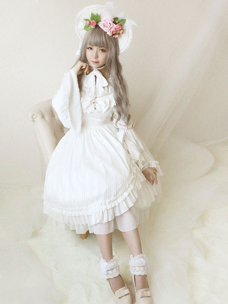 Lolita Wedding Dress OP White Chiffon Ruffle Bow Lace Lolita One Piece Dress