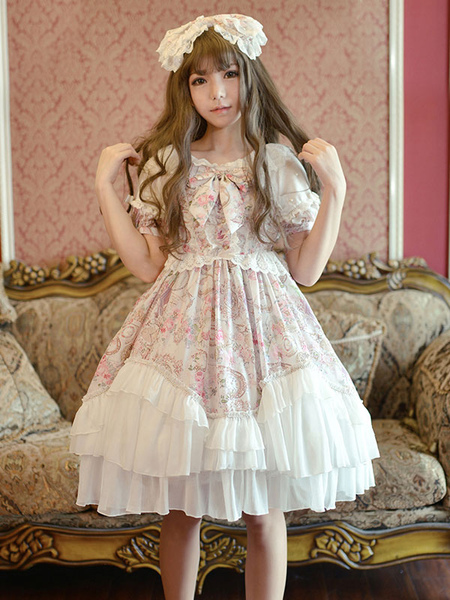 Sweet Lolita Dress OP Pink Chiffon Printed Puff Short Sleeve Ruffle Lolita One Piece Dress