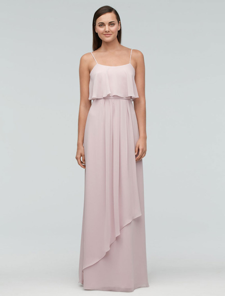 Pink Bridesmaid Dress Chiffon Maxi Wedding Party Dress Backless Straps A-line Occasion Dress