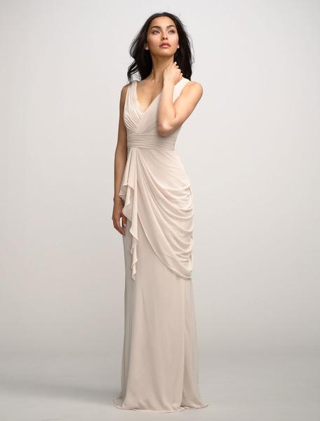 Vintage Evening Dress Sexy Sheath Chiffonwedding Party Dress V-neckd Maxi Bridesmaid Dress