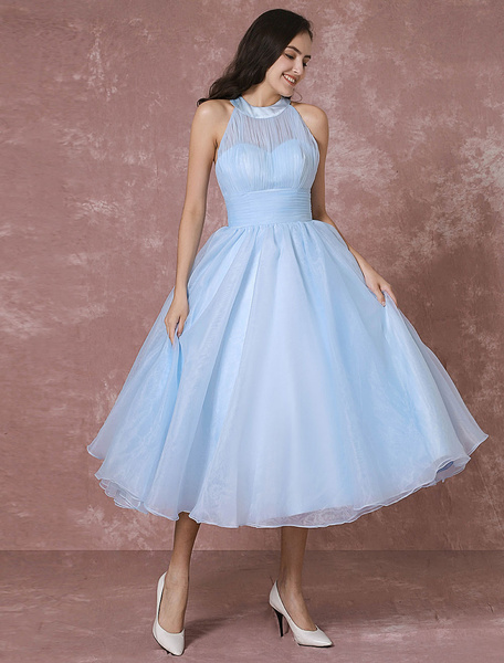 Blue Wedding Dress Short Tulle Vintage Bridal Dress Halter Backless Ball Gown Cocktail Dress Tea-len